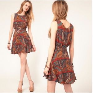 Free People Paisley Sleeveless Mini Dress